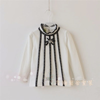 wholesale 2014 novelty lace t-shirts girls tops for children longsleeve tees floral  white black for spring/autumn/fall