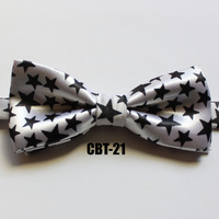 Fashion Child bow tie girls boys lovely bowtie 2 layer high quality kids bow ties white with black star (Can mixed color)