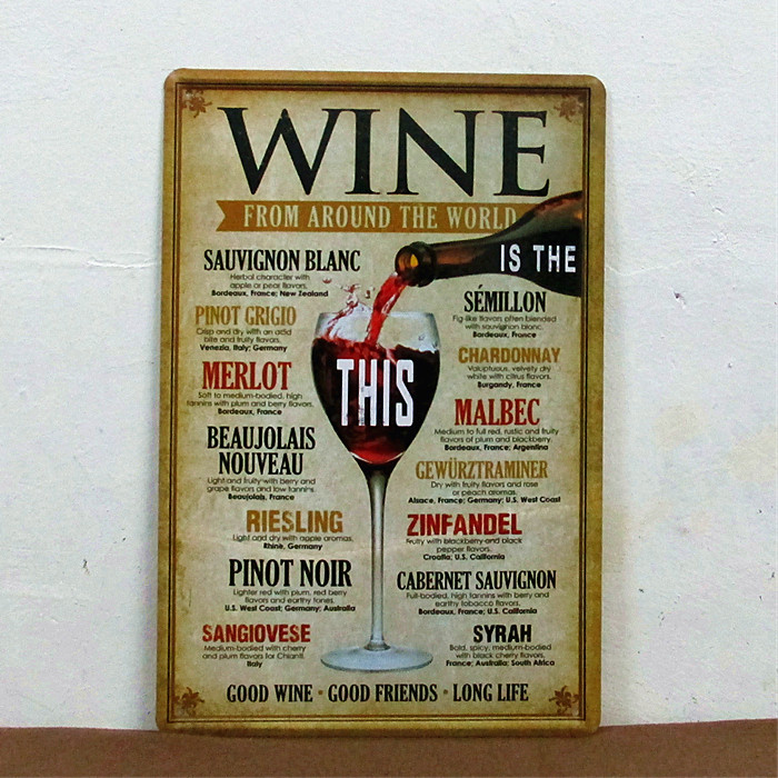 Wine from around the world  tin signs home decor House Cafe Bar iron painting L-31 Metal Craft gift(China (Mainland))