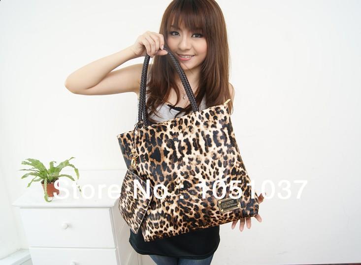 The new fashion leopard print PU 2013 hot lady handbag leopard single shoulder bag handbag purse(China (Mainland))