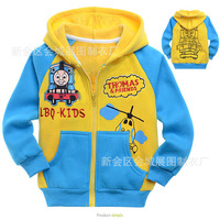 Fleece children's clothing thomas child 100% cotton outerwear with a hood sweatshirt jacket