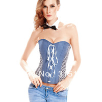 Free shipping Denim Casual Corset with Bow Neckpiece Overbust Wholesale 10pcs/lot 2013 Women Corset lingerie 5309