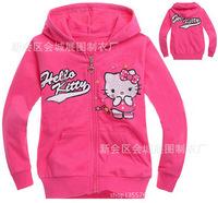 Hello Kitty Children's clothing 100% cotton Hooded sweatshirt zipper long-sleeve outerwear jacket  red 95 100 110 120 130 140
