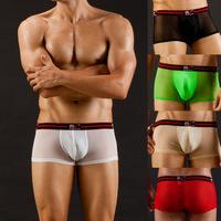FREE SHIPPING Net sexy gauze viscose male transparent low-waist boxer panties wj7034
