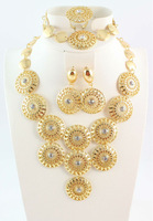 Free Shipping,Newest 18K Gold Plated Necklace And Earring Sets Women Charming Wedding Party Jewelry
