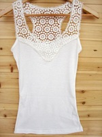 Best selling Korea Women's Tank Top Shirt Hollow-out Vest Waistcoat Camisole Pierced lace Tops Free shipping WC0208