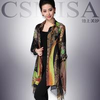 Chiffon shirt leopard print three quarter sleeve irregular sweep fashion long shirt sand 2013 autumn women's