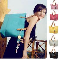 Candy Color Casual Handbags Large Shoulder Bag Big Size Solid Color Black Blue Pink Women Handbag 2014 Spring New