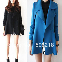Details about  Women Polyester Oversized Lapel Long Strapped Collar Outerware Blazer Jacket