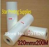 Glossy Hot roll laminating film 3 units 320mmx200M/roll