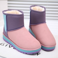 Winter thickening snow boots anti-slip soles tube color block decoration cotton-padded shoes waterproof multicolour flat heel