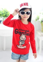 2013 new cotton Garfield baby t shirts for children girls' clothing long-sleeve children's t-shirts 5pcs/lot