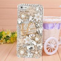 Hot sell Handmade Diamond Flower shaped sachet case for iphone 5 case for 5s phone Bumper Phone Bag Free shipping