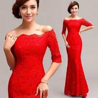 Red Bride Mermaid Wedding Dress Off Shoulder Cheongsam Red Wedding Gown Lace Fishtail Bridal Traditional Wear Daily Dresses