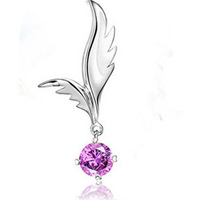 Pendant, Rhodium-plated brass, 25x10mm single-sided angel wings with Rhinestone mini order 10ps,factory price