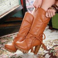 Fashion two ways thick heel platform medium-leg boots martin boots plus size