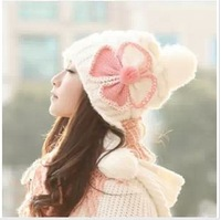Free Shipping The Bowknot Of South Korean Style Hat  Ear Protection  Knitting Women Keep Warm Winter Hats