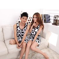 Explosion Models Special Lovers Pajama Sets Cotton Knit Sleeveless Vest Korean Version Of The Cartoon Cute Pajamas Shorts