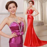 2013 design long evening dress slim fish tail bride evening dress tube top banquet short trailing formal dress