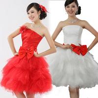 2013 bridesmaid bride tube top dress piano short design puff skirt