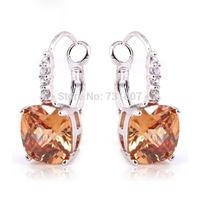Wholesale Beautiful Morganite & White Topaz 925 Dangle Hook Silver Earring Fashion Ring  145E5
