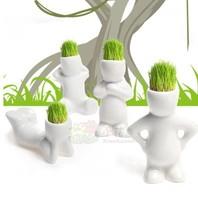 10pc/lot Creative Gift Plant Hair man Plant Bonsai Grass Doll Office Mini Plant Fantastic Home Decor pot + seeds 4 design