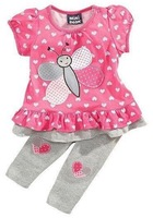 Children set next summer love butterfly female baby girls short-sleeve t-shirt  trousers casual set 3 x307