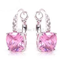 Wholesale Noble Elegant Pink Topaz  Dangle Hook Silver Earring Fashion Stone Jewelry  Free Shipping