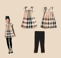 Classic baby girl suit yellow plaid blouse+long pant 2014 fashion baby girl suit Good quality