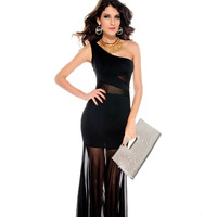2013 fashion popular black one shoulder slanting collar fish tail chiffon full dress one-piece dress 2697