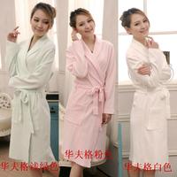 Lovers thin 100% waffle cotton bathrobes robe 100% cotton robe long-sleeve male Women sleepwear plus size