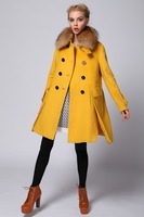 2014 brand name High quality gu i 1393 luxurious fur collar cashmere overcoat female woolen outerwear  design coat