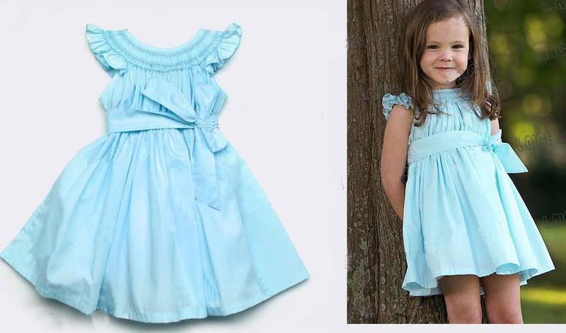 Blue baby girl dress Sleeveless baby girl dress with bowknot 2014 summer design princess dress free shipping(China (Mainland))