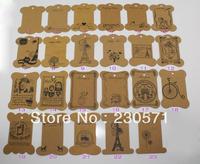 SS066 DIY Zakka Kraft Paper Cardboard Tags for Scrapbooking/ Gift Cards/ Label Tags/ Bookmarks Paper Bobbins 23 Designs