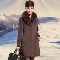 2014 luxury women elegant Ultralarge of luxury fox fur quality cashmere overcoat  diamond female  design coat