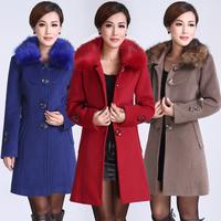 2014 luxury elegant women  women's luxury elegant slim sheep trophonema wool trench coat outerwear fur collar  discount