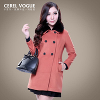 Carrel autumn and winter woolen outerwear medium quality luxury women's colorant match rex rabbit hair cashmere overcoat
