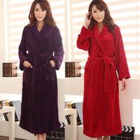 Autumn and winter women's lengthen ultra soft coral fleece robe sleepwear bathrobes women's red robe lounge sleepwear