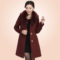 Taxane quinquagenarian cashmere overcoat luxury fox fur long design women's wool winter coat