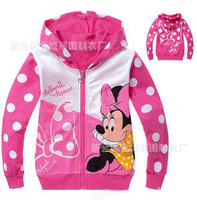 100% cotton loop pile children's clothing autumn MINNIE outerwear with Hooded Sweater Zipper Jacket