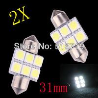 New 2 pcs x 31mm 5050 6SMD 6 LED White Festoon Dome Car Light Lamp Bulb 12V Free Shipping