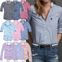 New 2013 Women OL Long Sleeve Blouses Famous Brand Lattice Girls Tops Cotton Shirts vintage blouse women, Free Shipping