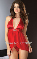 Red Plus Size S M L XL XXL XXXL 3XL Sexy Lingerie Sheer Babydoll Chemise Dress Underwear Nightie Sleepwear - 7087