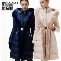 European High Fashion Brand Women's Luxury Rex Rabbit Fur Quality Thickening Goose Down Jacket Warm Goose Down Parka For Female