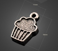 Free shipping fashion accessories 11*16mm20pcs/bag alloy antique silver vintage cupcakes shaped charms for jewelry crafts