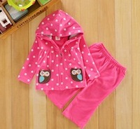 BD082 Free Shipping Carter Girl Polka Dot Clothes Set Cute Owl Model ( Jacket + Pant) 2pcs Baby Girl Suit Newborn Clothes Retail