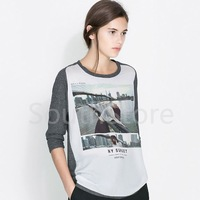 New 2014 Winter Fashion T Shirt Women Brand Long Sleeve Brooklyn Bridge Printed Tops Lady High Street Casual Blouses Plus Size
