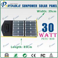 30W sunpower solar collector sunpower foldable solar charger bag for phone,laptop/12V battery+Dual output controller DC18V&USB5V