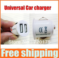 80% discounts Universal Double 2A Dual USB Mini Car Charger For smart phone Iphone4 4S For iphone 5 Ipad galaxy note 5pcs/lot