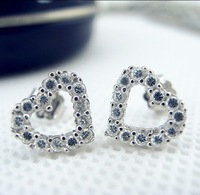 925 pure silver fashion 2013 18k platinum stud earring earrings heart diamond female accessories